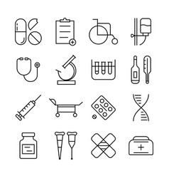 thin line medical items set vector image vector image