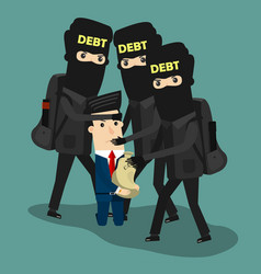 businessman in debt business concept vector image vector image