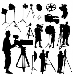 cameraman film objects vector image vector image