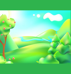 Colorful nature cartoon vector