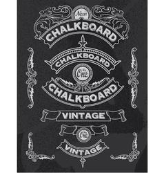 Floral decorative chalkboard banner and ribbon set vector image vector image