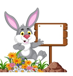 funny rabbit cartoon posing with blank sign vector image vector image