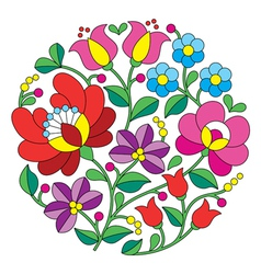 Kalocsai embroidery - Hungarian round floral folk vector image vector image