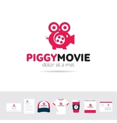 Piggy Movie business company logo template vector image
