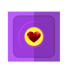 pink condom wpapper with red heart vector image