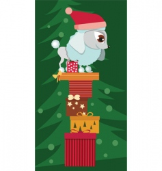 poodle with Christmas presents vector image vector image