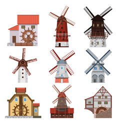 traditional windmills and water mills vector image vector image