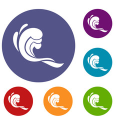 water wave icons set vector image vector image