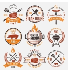 Bbq retro style emblems vector