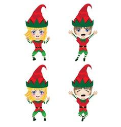 Children Dressed in Elf Costume vector image vector image