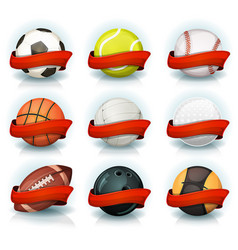 set of sports balls with red banners vector image