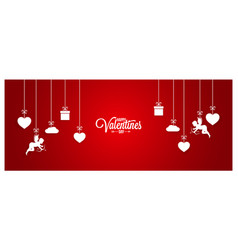valentines day red banner on white background vector image vector image