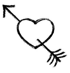 black arrow piercing heart vector image vector image
