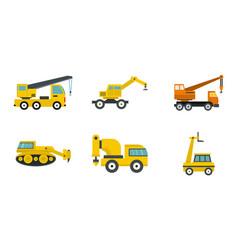 construction vehicle icon set flat style vector image