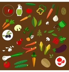 Fresh vegetables and herbs flat icons vector image
