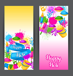 happy holi colorful banners of vector image vector image