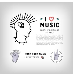 Punk rock music icons Rock hand symbol Modern vector image vector image