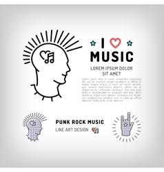 Punk rock music icons Rock hand symbol Modern vector image