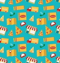 Seamless Pattern with Slices of Pizza and Colorful vector image