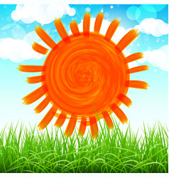 summer background with sun grass flower and vector image