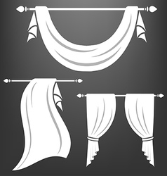 White curtain vintage set vector image