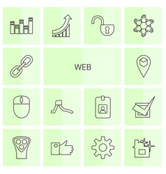14 web icons vector image