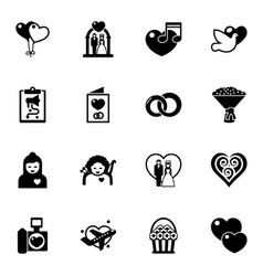 16 love filled icons set isolated on white vector image