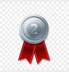 2 place winner silver medal award ribbon vector image