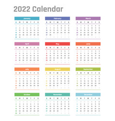 2022 year calendar calendar design for vector