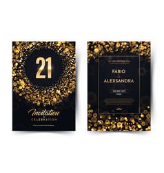 21st years birthday black paper luxury vector