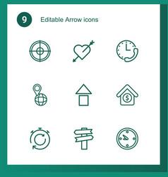 9 arrow icons vector image