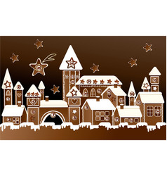 Advent calendar with gingerbread town vector