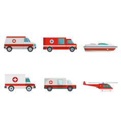 ambulance transport banner concept set vector image