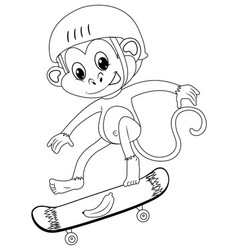 Animal outline for monkey on skateboard vector