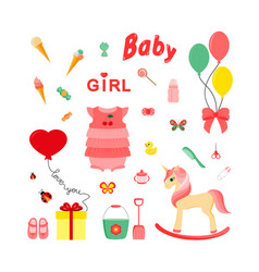 baby icons for girls icon flat vector image