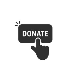 Black hand push on donate button vector