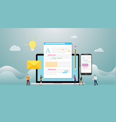 blogging or blog creative concept with laptop vector image