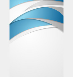 blue and grey abstract wavy flyer design vector image