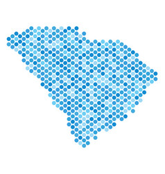 Blue dotted south carolina state map vector