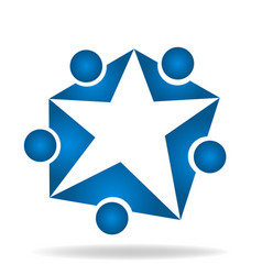 Blue star people group team icon vector
