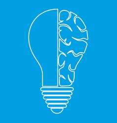 Brain lamp icon outline vector