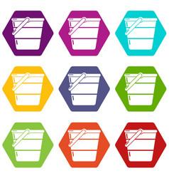 bucket icons set 9 vector image