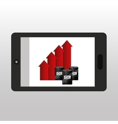 Business oil smartphone growth graph vector