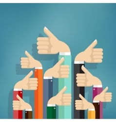 Business people holding many thumbs up vector
