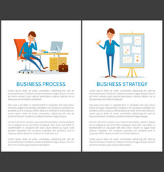 business strategy process presentation on board vector image
