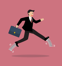business woman running by elastic spring shoes vector image