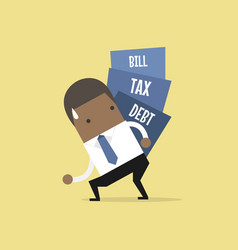 businessman carry pile of debt tax and bill vector image