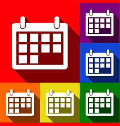 calendar sign set of icons vector image