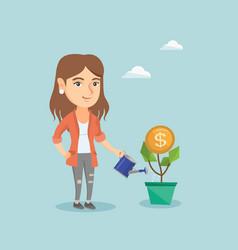 caucasian business woman watering money flower vector image