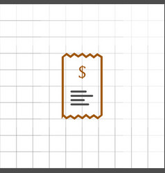 checkout receipt or purchase receipt line art icon vector image